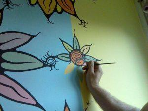gyerekszoba festés virágokkal