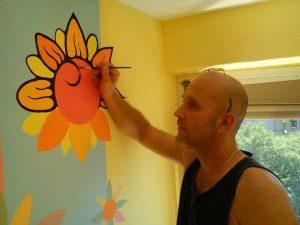 gyerekszob festés virágokkal